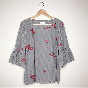Calvin Klein Striped Floral Embroidered Top